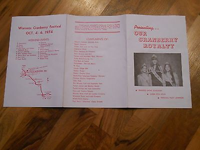 Old Vintage 1974 Warrens Wisconsin Cranberry Festival Cranfest Recipes Queen