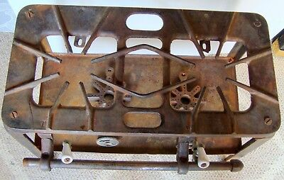 Antique Vintage Cast Iron Double Gas Burner Stove Hotplate With Shelf (inv1018)