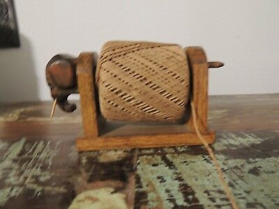 Vintage Primitive Folk Art ~Elephant~Make-Do String/twine  Holder