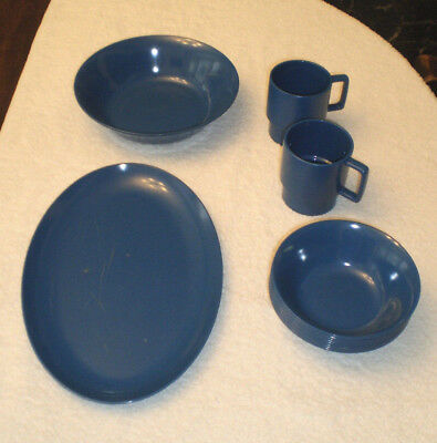 Vintage Texas Ware Melmac Dishes Lot - 12 Pieces - Dark Royal Blue