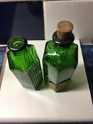 Two Large Green Victorian Glass Poison Bottles