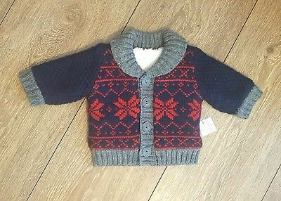 Baby Boys Knitted Fleece Lined  Christmas Cardigan Age 0-3  Months New