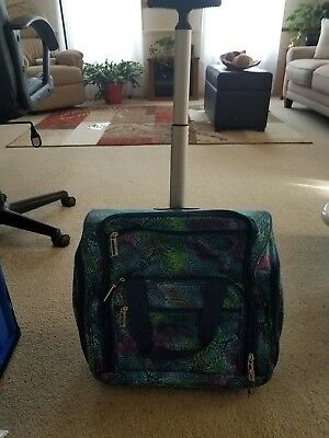 Lucas blue green trendy pattern rolling carry-on briefcase luggage new