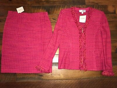 NWT! ST JOHN Collection MARIE GRAY Pink Tourmaline Multi  Skirt Suit Size 10, 12
