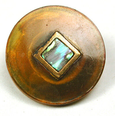 """BB Antique Horn Button Inlay w Square Shell and Brass 13/16"""""""