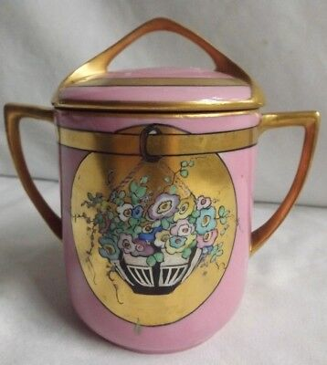 ANTIQUE PINK & GOLD PORCELAIN ART DECO/NOUVEAU COVERED JAR w STOPPERED BOTTOM NR