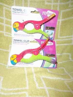Parrot Towel Clips ~ Keep Your Beach Towel In Place!  ~Set Of 2~ Cute ~New ~Lqqk