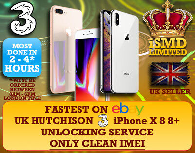 Unlock Uk Gb England 3 Three Hutchison Iphone X 8 8+ 7 7+ Unlocking Imei Service
