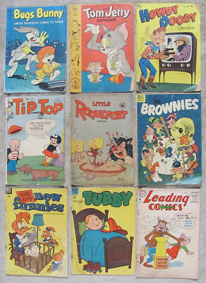 9 rough but readable Golden Age CARTOON CHARACTER comic books 1951-1955