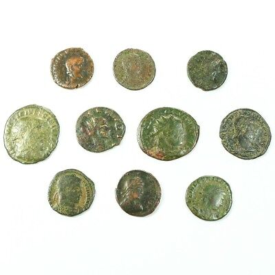 Ten (10) Nicer Ancient Roman Coins c. 100 - 375 A.D. Exact Lot Shown rm3493