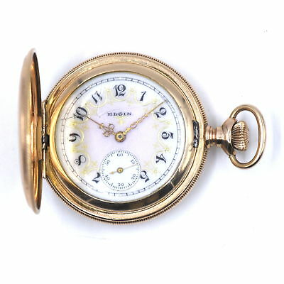 ANTIQUE ELGIN HUNTING CASE POCKET WATCH ENAMEL DIAL GOLD FILLED FOR REPAIR c1902