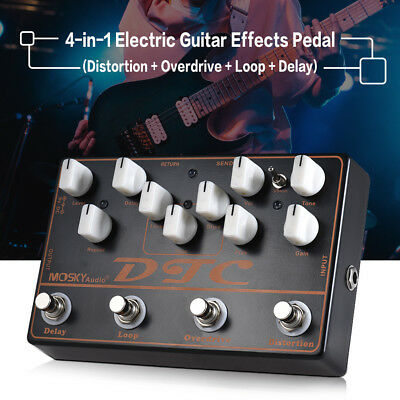 4 in 1 Electric Guitar Effects Pedal w/ Distortion Overdrive Loop Delay Black