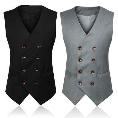 Mens Cotton Blend Bridegroom Suit Dress Waistcoat Wedding Formal Coat Vest S-4XL