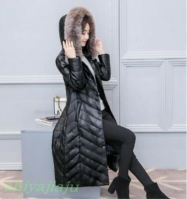 Womens Winter Fur Collar Hooded Faux Leather Long Coat Thick Warm Parka Outwear