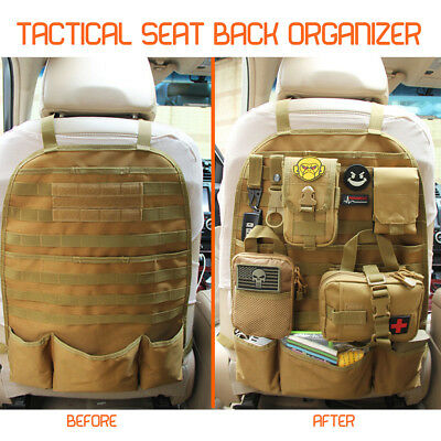 Molle Multi Pockets Tactical Car Seat Back Organizer Storage Bag Cover Protect