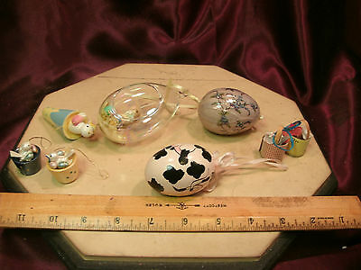 8 Assorted Easter Decoration-1 Bunny/3 chick/2 basket/2 egg Ornaments-free ship