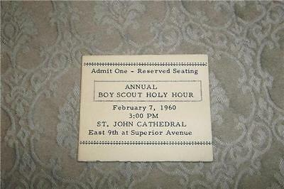 1960 Boy Scouts America Holy Hour Ticket Card St. John Cathedral Cleveland Ohio