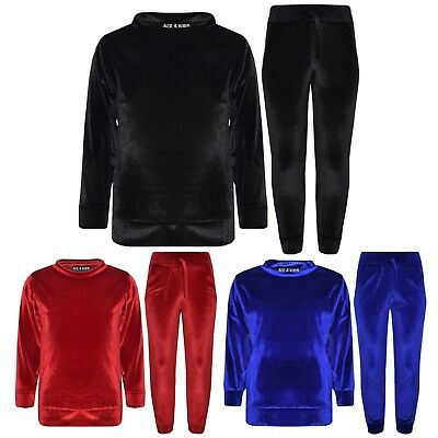 Kids Girls Lounge Suit Velvet Velour Top & Bottom Lounge Wear Tracksuit 5-13 Yr