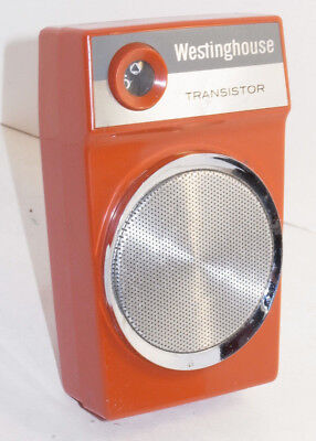 VINTAGE EARLY 1960s WESTINGHOUSE AM TRANSISTOR RADIO! RED/ORANGE! MADE IN USA!