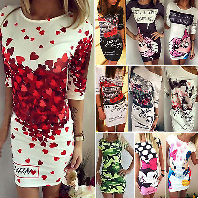 Womens Floral Short Sleeve Slim Fit Bodycon Party T-shirt Dress Tops Clubwear