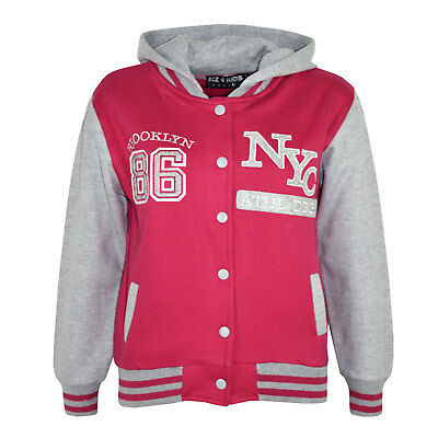 Kids Girls Baseball NYC ATHLETIC Pink Hooded Jacket Varsity Hoodie Age 5-13 Year