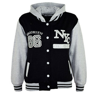Kids Girls Baseball NYC ATHLETIC Black Hooded Jacket Varsity Hoodie Age 5-13 Yrs