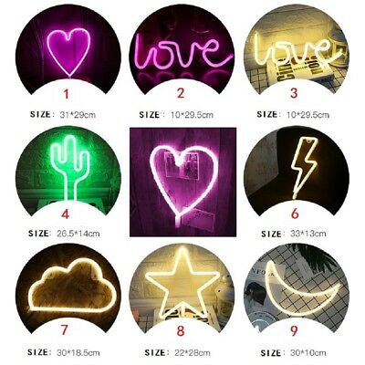 DIY Neon LED Light Sign in Lightning Heart Cloud Moon Star Shape Home Decorate