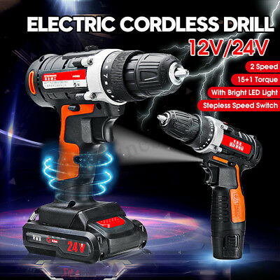 Heavy Duty Electric Impact Wrench Gun Set Cordless Drill LED Worklight 12V/24V
