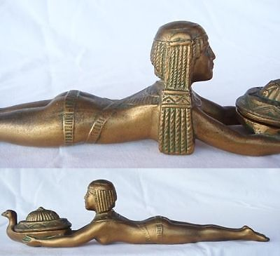 Art Deco Perfume Burner Sphynx Lady Egyptian Revival Gilt 1920's Antique (4472)