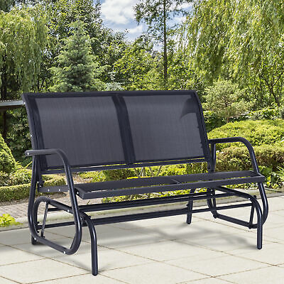 Outsunny 2 Person Patio Glider Bench Swing Chair  Garden Mesh Rocker Steel Black