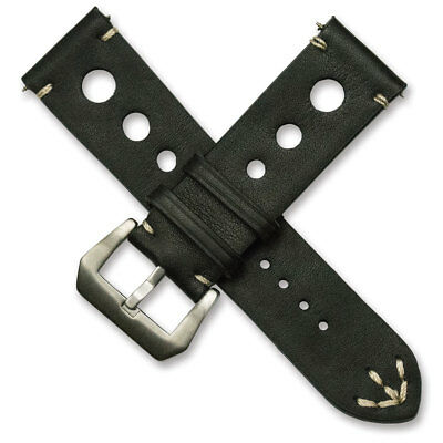 Black Mens Rally Racing Watch Strap Sports Genuine Calf Leather stitched band
