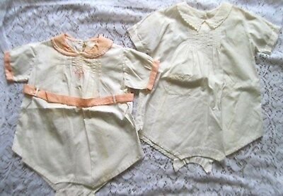2 Adorable Vintage Toddler Rompers w/Embroidered Trim~Hand Made