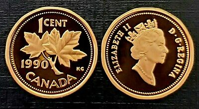 Canada 1990 Proof Gem UNC One Cent Penny!!