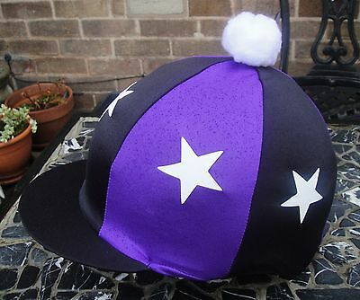 Riding Hat Silk Skull cap Cover BLACK & PURPLE * WHITE STARS With OR w/o Pompom