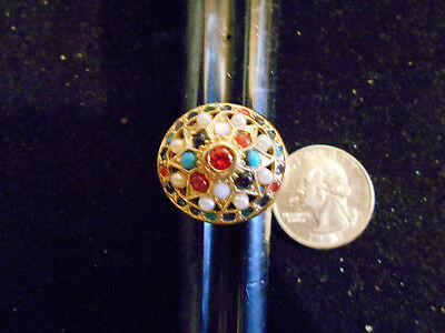 bling gold plated multi stone india style big large ring hip hop band size 10 gp