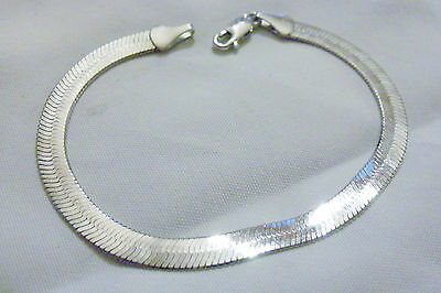 bling sterling silver plated 5mm 7in hip hop herringbone WRIST bracelet JEWELRY