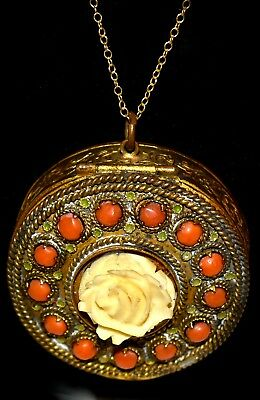 Lovely Antique Brass CARVED ROSE & Coral Stones FRENCH Compact Necklace
