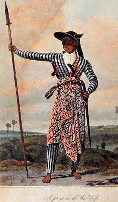 1844 JAVA 7 NATIVE PEOPLES KRIS blades knives costume INDONESIA prints RAFFLES