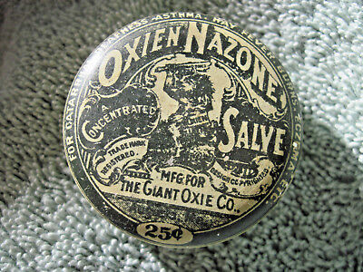 Antique Oxien Nazone Giant Oxie Co. Salve Ointment Advertising Tin  verry rare