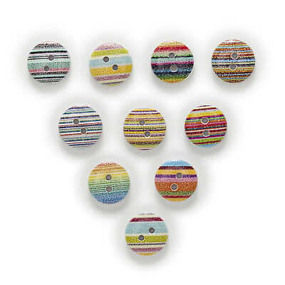 50pcs Stripe 2 Hole Round Wood Buttons Sewing Scrapbooking Home Decor 15mm