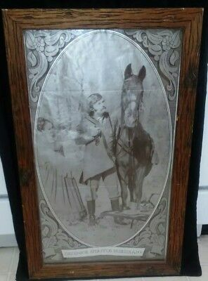 RARE VTG Rebel Yell Bourbon Whiskey Advertising Picture-Tin? Framed Etched wood