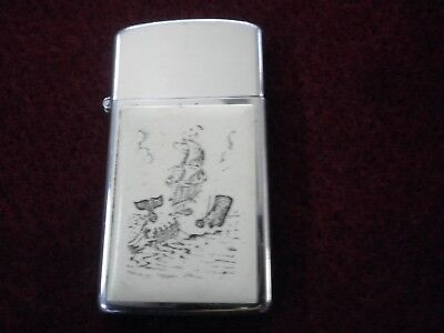 Vintage Nautical Whaler Whaling Ship Boat Zippo Slim Lighter: Great Graphics HTF