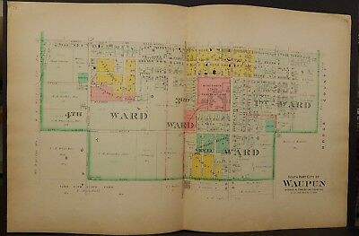Wisconsin Dodge County Map City of Waupun 1910 2-Double Pages  J23#80