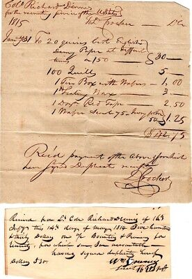 War of 1812, Colonel Richard Dennis, archive for recruiting bounties, signed