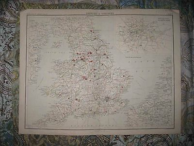 Large Antique 1880 England Wales County Borough Handcolored Map London Maritime