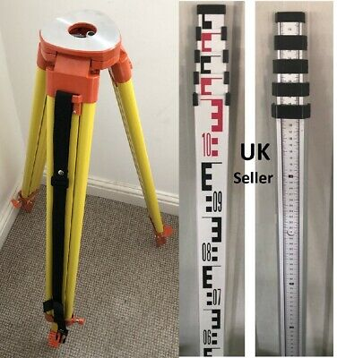 ALUMINIUM TRIPOD & 5m SURVEY LEVELLING STAFF FOR LASER LEVEL /DUMPY construction