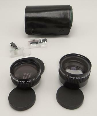 Chinar Auxiliary Lens set Wide Angle Telephoto Focus Distance w Leather Case