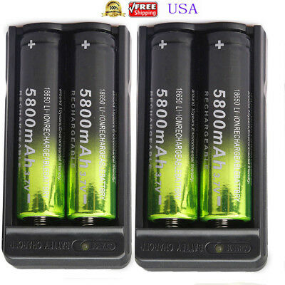4pcs Skywolfeye 5800mah 18650 Battery 3.7v Rechargeable Li-ion Cell +2x Charger