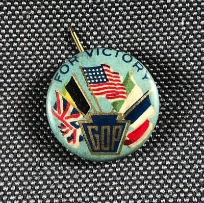 "WW1 Era GOP For Victory Pinback Campaign Button 3/4"" 690H"