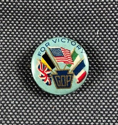 "WW1 Era GOP For Victory Pinback Campaign Button 5/8"" 690I"